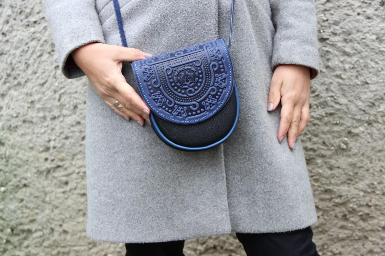 Кожаная женская сумка, синяя сумочка, мини сумочка, сумка через плечо? черно-синяя, фото 1