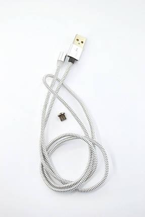 Кабель Usb-cable Micro USB 4you Magnetic silver (2000mah, плетение Питон, 360град.), фото 2