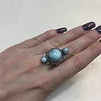 Ларимар кольцо с натуральным карибским ларимаром (Доминиканская бирюза) размер 18,2