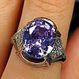 Серебряное кольцо с фиолетовым цирконием - Женское серебряное кольцо с крупным камнем, фото 8