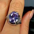 Серебряное кольцо с фиолетовым цирконием - Женское серебряное кольцо с крупным камнем, фото 7