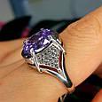 Серебряное кольцо с фиолетовым цирконием - Женское серебряное кольцо с крупным камнем, фото 6