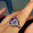 Серебряное кольцо с фиолетовым цирконием - Женское серебряное кольцо с крупным камнем, фото 5