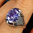 Серебряное кольцо с фиолетовым цирконием - Женское серебряное кольцо с крупным камнем, фото 2