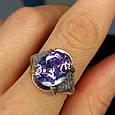 Серебряное кольцо с фиолетовым цирконием - Женское серебряное кольцо с крупным камнем, фото 3