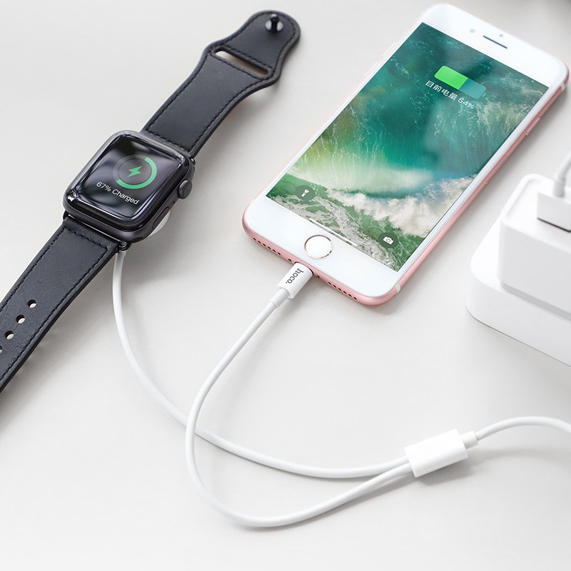 Зарядный кабель Data Cable Hoco U69 2in1 Lightning +Apple Watch