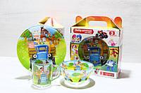 Детский стеклянный набор посуды Трактор Гоша 3 Предмета, фото 1