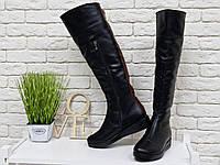 Сапоги-ботфорты из натуральной кожи классического черного цвета со вставками из лаковой кожи темно рыжего цвет