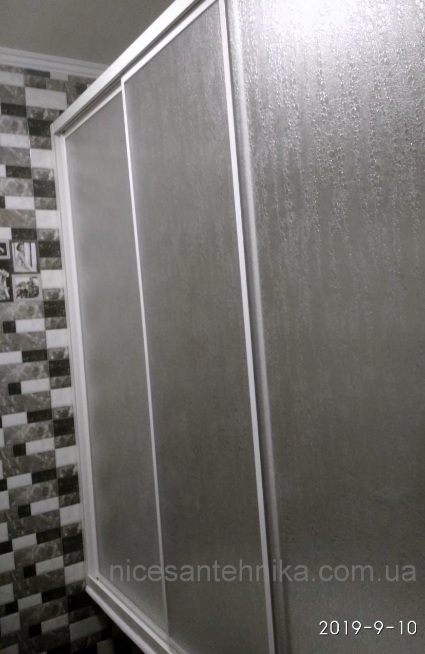 Душевые двери на ванну 3-и створки 170*140 см.