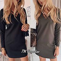 Женское зимнее теплое платье вискоза с начесом хаки черный 42-44 46-48