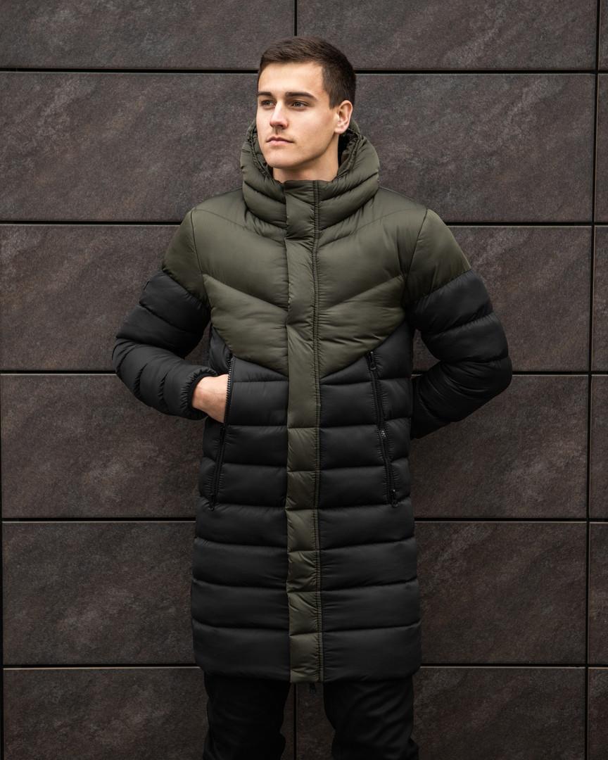 """Куртка-пальто мужское зимнее дутое """"Зирка"""" с капюшоном черное с хаки - размер S"""