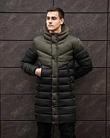 """Куртка-пальто мужское зимнее дутое """"Зирка"""" с капюшоном черное с хаки - размер S, фото 1"""