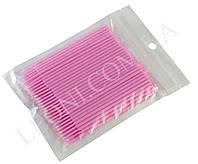 Микробраши для коррекции ресничек и бровей (100шт.уп) Розовый