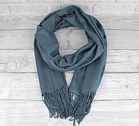 Нежный кашемировый шарф, палантин Cashmere 7480-11 джинсовый, расцветки, фото 1