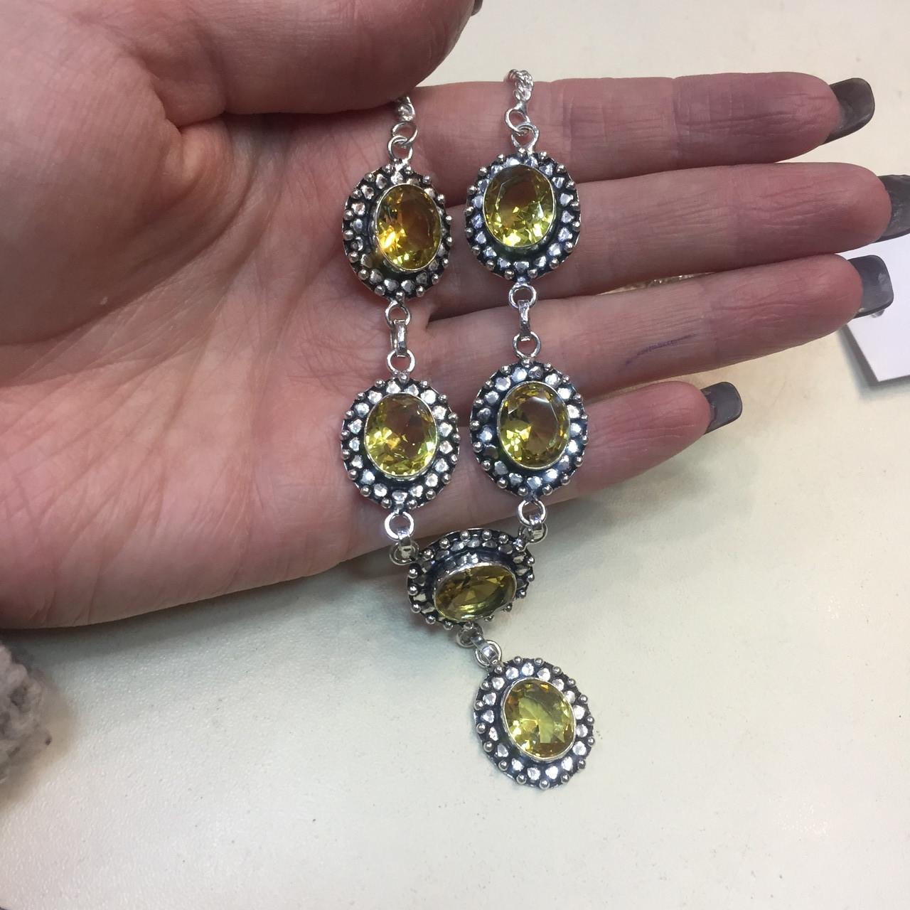 Цитрин ожерелье колье с камнем цитрин в серебре Индия