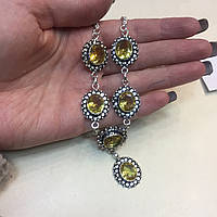 Цитрин ожерелье колье с камнем цитрин в серебре Индия, фото 1