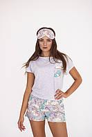 Женская пижама с единорогами( Шорты + Трикотажная Футболка  с карманом + Маска для сна)