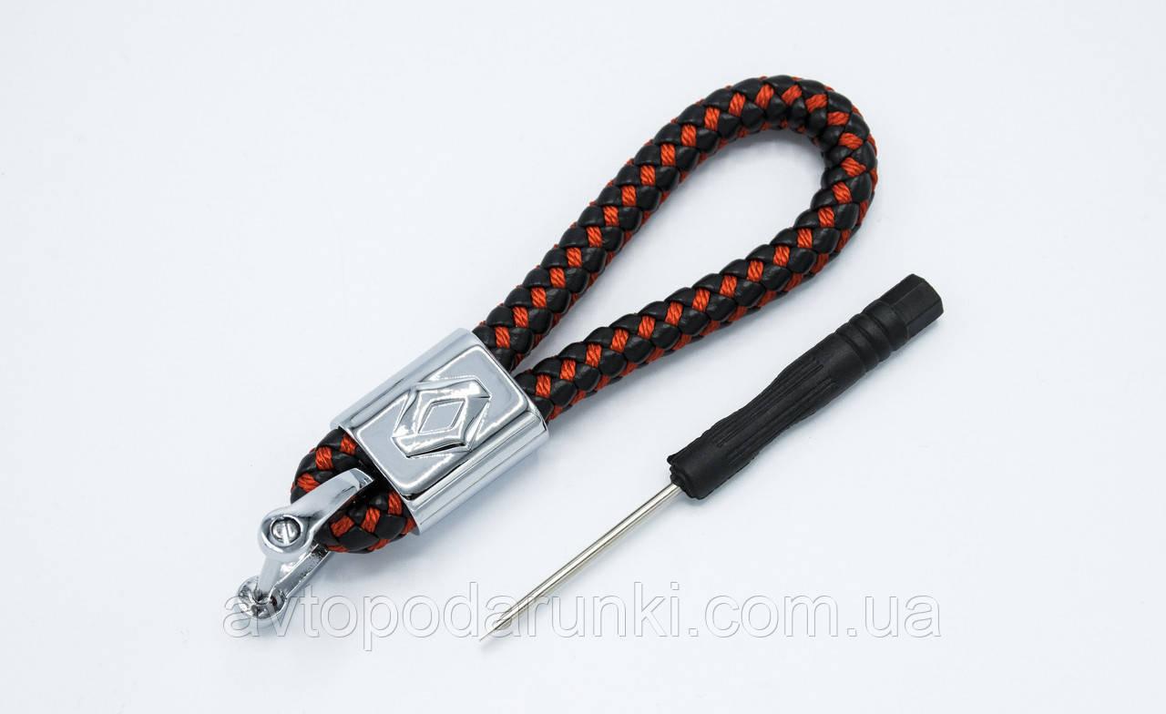 Брелок RENAULT плетеный + карабин/черно-красный