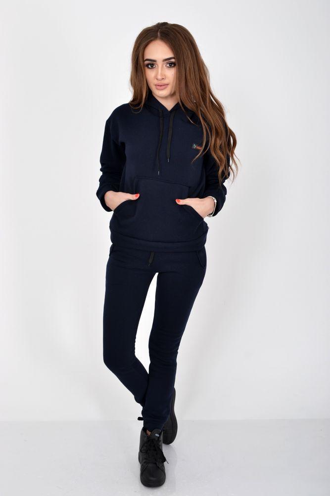 Темно-синий женский спортивный костюм на флисе
