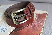 Мужской коричневый ремень из натуральной кожи ручной работы, прошитый, с пряжкой цвета Антик