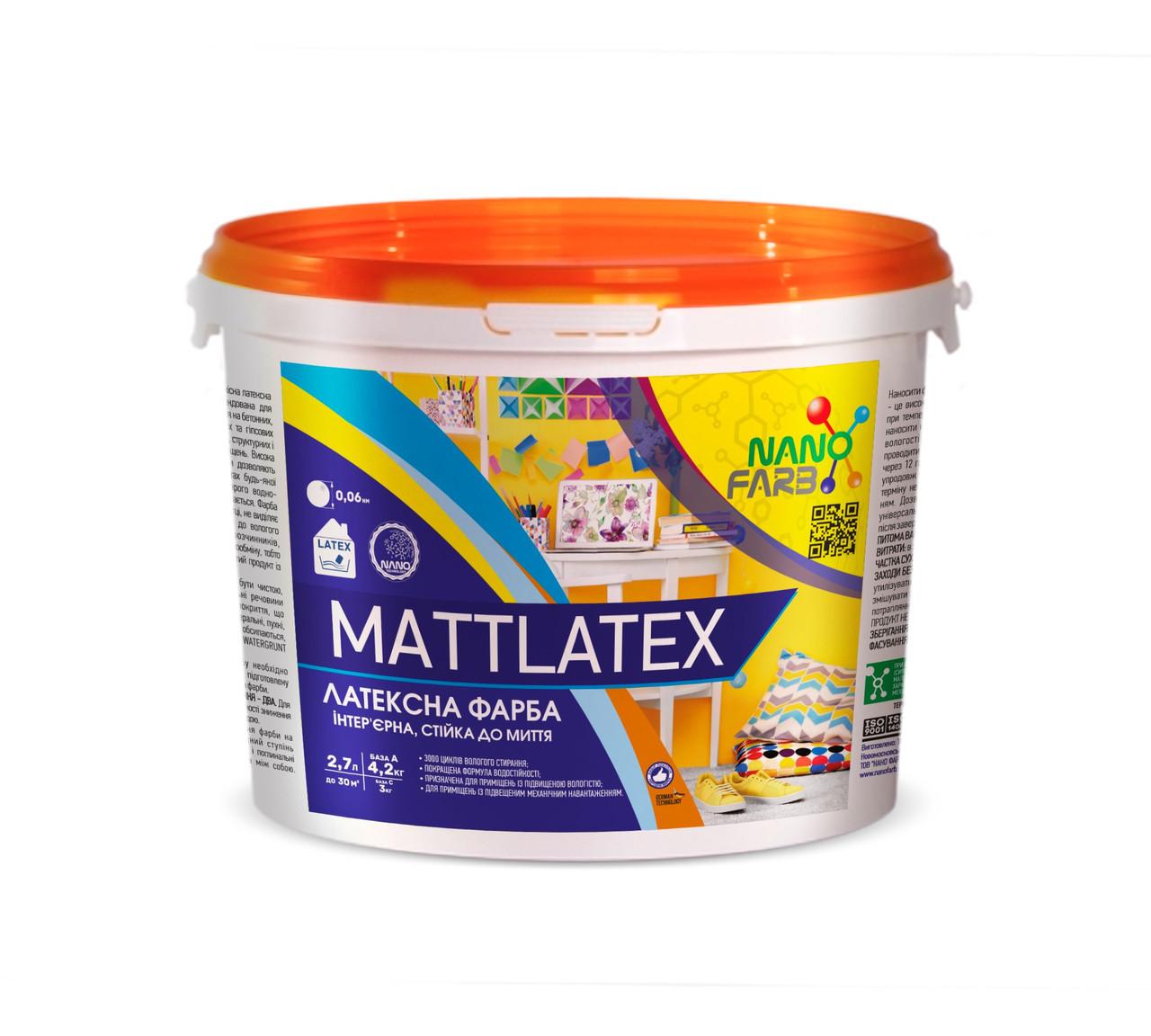 Интерьерная акриловая латексная краска моющая Mattlatex Nano farb 4.2 кг