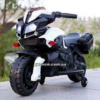 Детский мотоцикл M 3832 L-1 с кожаным сиденьем, белый