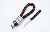Брелок OPEL плетеный + карабин/черно-красный