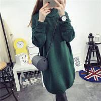 Женский удлиненный теплый свитер-туника, темно-зеленого цвета, опт, фото 1