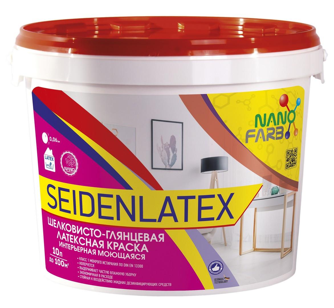Интерьерная шелковисто-глянцевая латексная краска Seidenlatex Nano farb 10 л