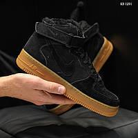 Мужские зимние кроссовки Nike Air Force High (черные)