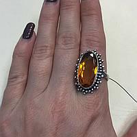 Кольцо овальное цитрин в серебре размер 19,5 кольцо с цитрином Индия