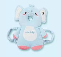 Защитная противоударная подушка-рюкзачок Слоник голубой в виде плюшевой игрушки для защиты головы малыша от падений/ Защита -рюкзак для детей