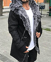 ХИТ!!! Парка Мужская зимняя с капюшоном черная, на меху+силикон, еврозима -15 С, ЛЮКС Качесто!!!