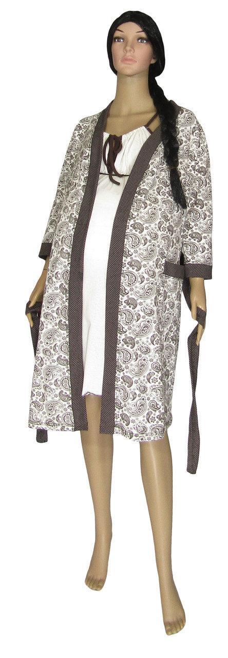 Ночная рубашка и халат для беременных и кормящих 19004 Amarilis Agure Crem