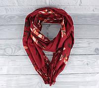 Шикарный кашемировый шарф, палантин Cashmere 7580-1 бордовый цветочный, расцветки