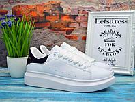 Женские кроссовки Alexander McQueen White Black Кожа Александр Маккуин белые с черным кроссовки на платформе