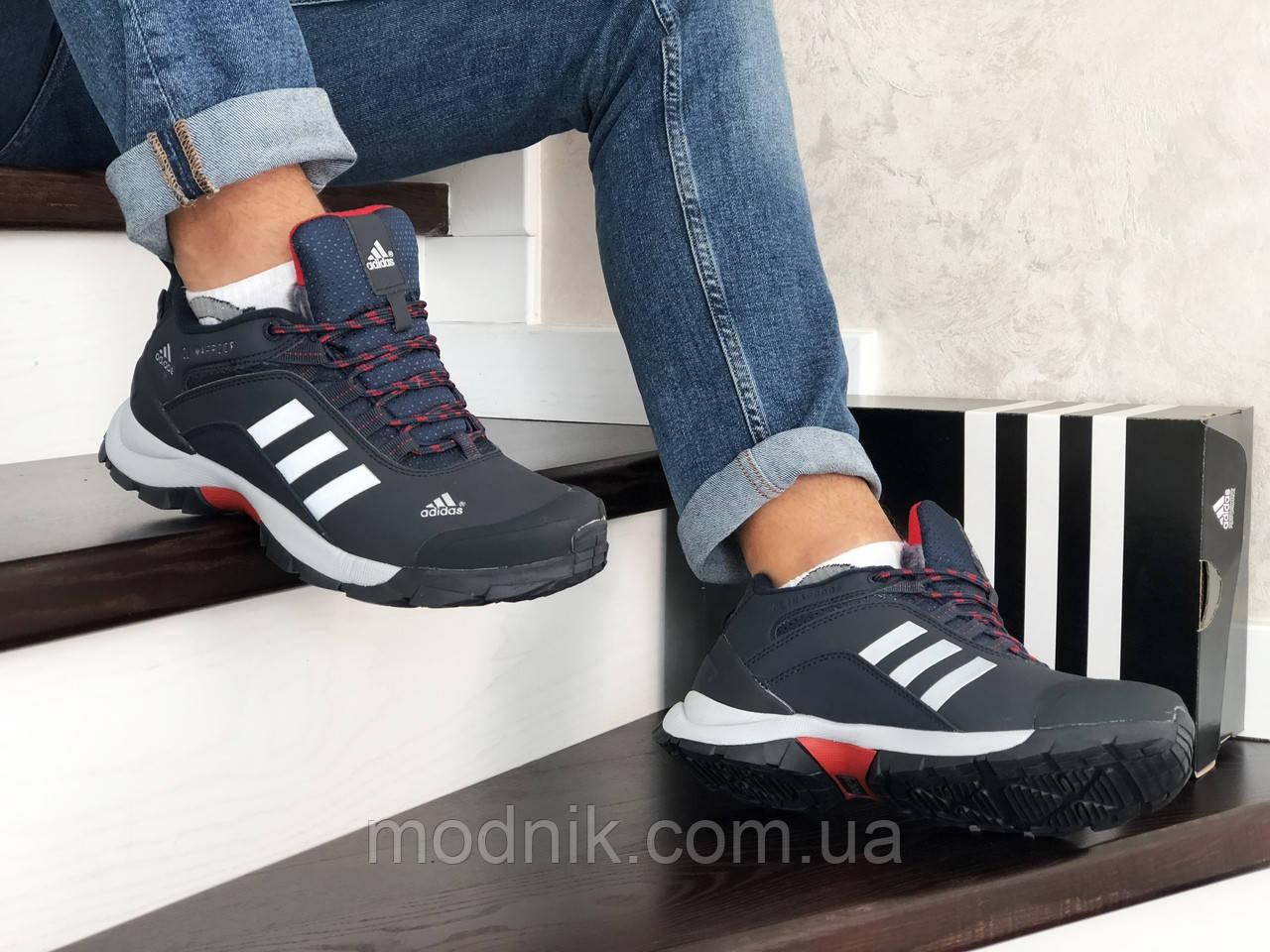 Мужские зимние кроссовки Adidas Climaproof (темно-синие с белым)