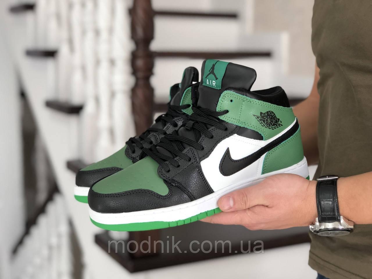 Мужские зимние кроссовки Nike Air Jordan 1 Retro (зелено-белые с черным)