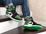 Мужские зимние кроссовки Nike Air Jordan 1 Retro (зелено-белые с черным), фото 2