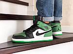 Мужские зимние кроссовки Nike Air Jordan 1 Retro (зелено-белые с черным), фото 4