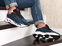 Кроссовки Adidas Yeezy Boost 700 мужские, темно-синие, в стиле Адидас Изи Буст, кожа, текстиль, код SD-8684