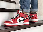 Мужские зимние кроссовки Nike Air Jordan 1 Retro (красно-белые), фото 4