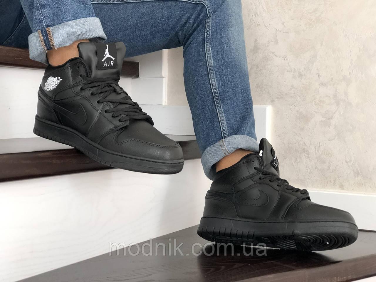 Мужские зимние кроссовки Nike Air Jordan 1 Retro (черные)