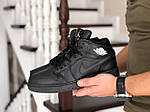 Мужские зимние кроссовки Nike Air Jordan 1 Retro (черные), фото 3