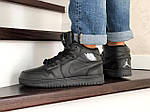 Мужские зимние кроссовки Nike Air Jordan 1 Retro (черные), фото 4
