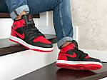 Мужские зимние кроссовки Nike Air Jordan 1 Retro (черно-красные), фото 3