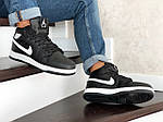 Мужские зимние кроссовки Nike Air Jordan 1 Retro (черно-белые), фото 4