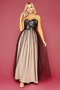 Пышное вечернее длинное платье с открытыми плечами черный-бежевый