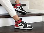 Женские зимние кроссовки Nike Air Jordan 1 Retro (бело-черные с красным), фото 3