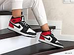 Женские зимние кроссовки Nike Air Jordan 1 Retro (бело-черные с красным), фото 4